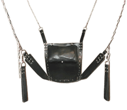 A black leather sex sling with chain and stirrups